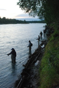 Combat fishing in the Kenai River in Soldotna