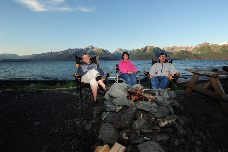 Campfire in front of Resurrection Bay and the Chugach Mountains