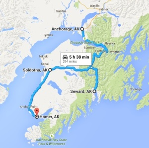 Map- Anchorage to Homer