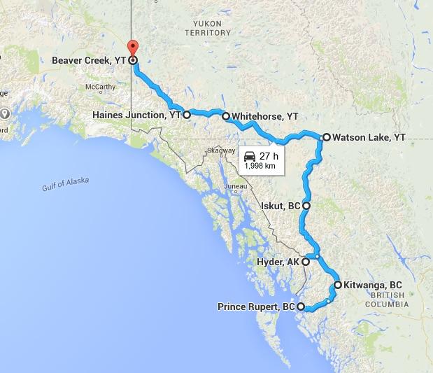 Map Prince Rupert to Beaver Creek