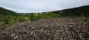 Tailings from gold mining via dredge