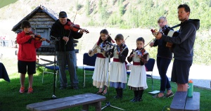 Young fiddlers, playing their hearts out!