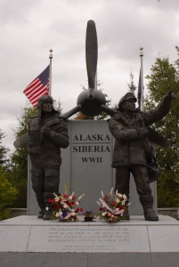 Lend Lease Monument showing transport from Alaska to Siberia