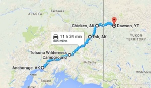 Map Anchorage to Dawson City