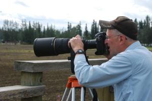 Stephen photographing sandcranes