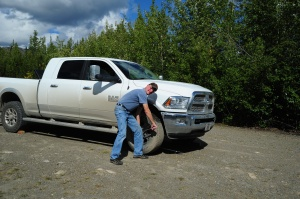 Changing a tire on the Dempster Highway